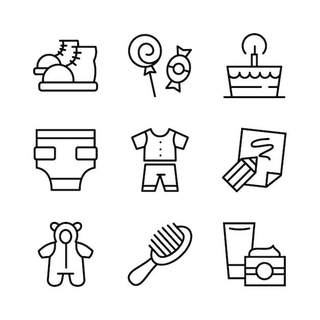 Conjunto de iconos de juguetes, alimentación y cuidado del bebé. estilo de línea. Vector Premium