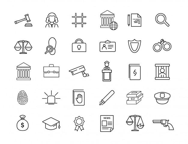 Conjunto de iconos de jurisprudencia lineal. iconos de ley en diseño simple. Vector Premium