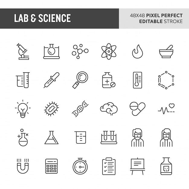 Conjunto de iconos de laboratorio y ciencia Vector Premium