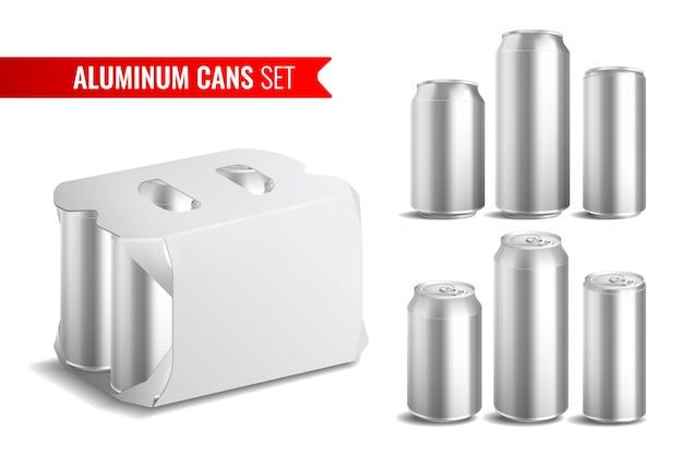 Conjunto de iconos de latas de aluminio vector gratuito