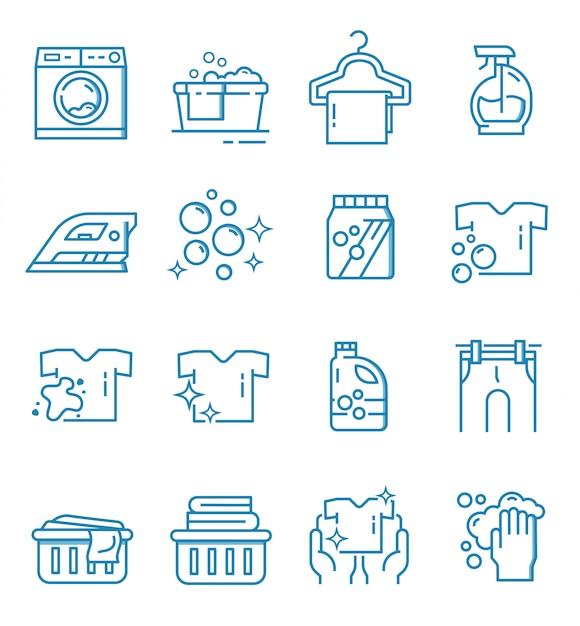 Conjunto de iconos de lavandería con estilo de contorno Vector Premium