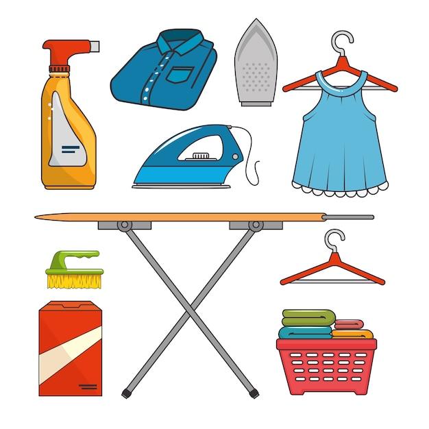 Conjunto de iconos de lavandería Vector Premium