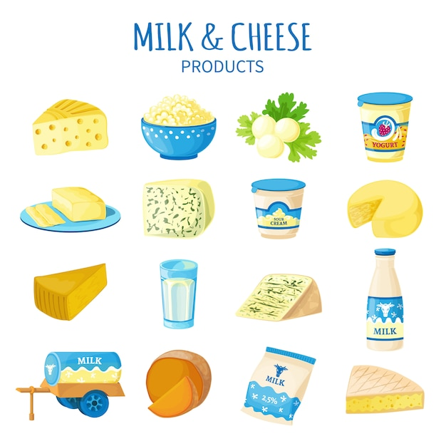Conjunto de iconos de leche y queso vector gratuito