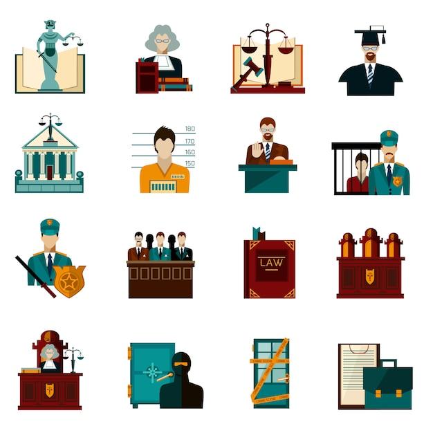 Conjunto de iconos de ley vector gratuito