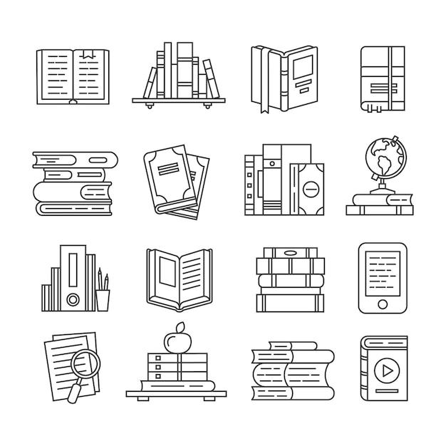 Conjunto de iconos de libro de arte de línea Vector Premium