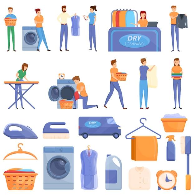 Conjunto de iconos de limpieza en seco, estilo de dibujos animados Vector Premium
