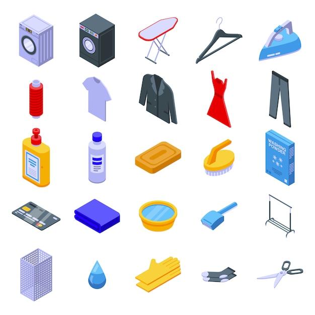 Conjunto de iconos de limpieza en seco, estilo isométrico Vector Premium