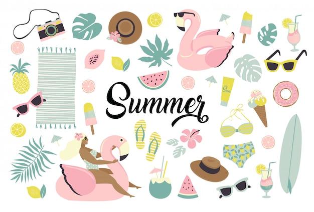 Conjunto de iconos lindos del verano. Vector Premium
