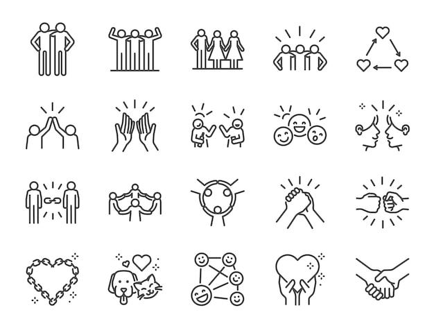 Conjunto de iconos de línea de amistad. Vector Premium