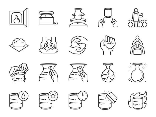 Conjunto de iconos de línea de cerámica. Vector Premium