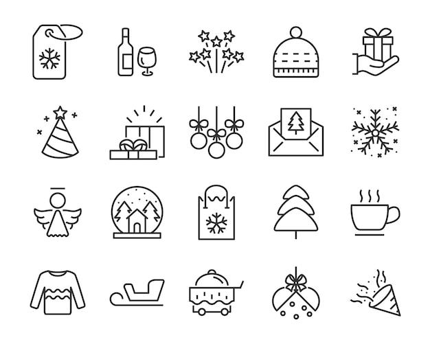 Conjunto de iconos de línea chistmas, como caja, regalo, invierno Vector Premium