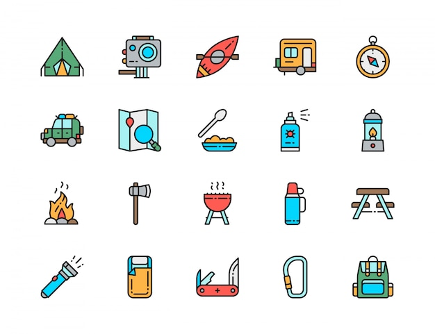 Conjunto de iconos de línea de color plano de camping. barbacoa, canoa, remolque Vector Premium