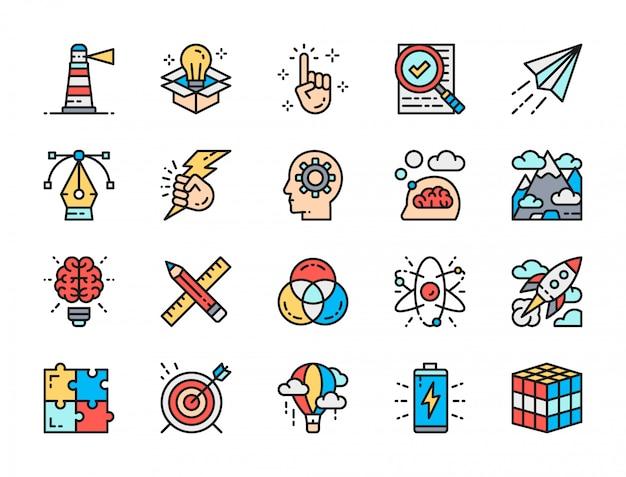 Conjunto de iconos de línea de color plano de inspiración. innovación, batería, rompecabezas y más. Vector Premium
