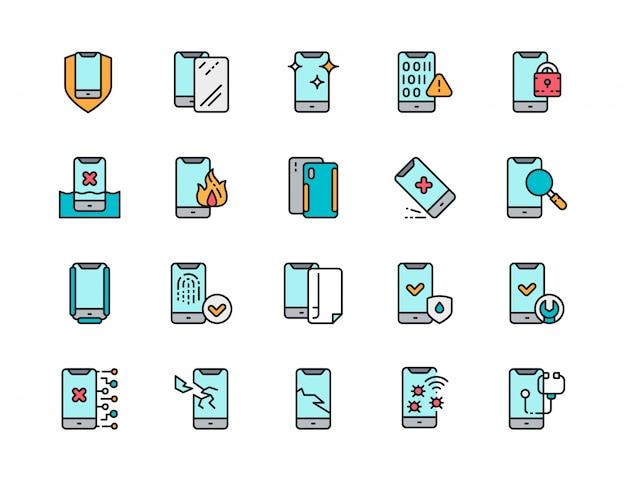 Conjunto de iconos de línea de color plano de reparación de teléfono. spam, vidrio protector, virus de software Vector Premium