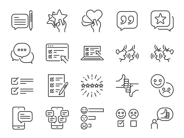 Conjunto de iconos de línea de comentarios. Vector Premium