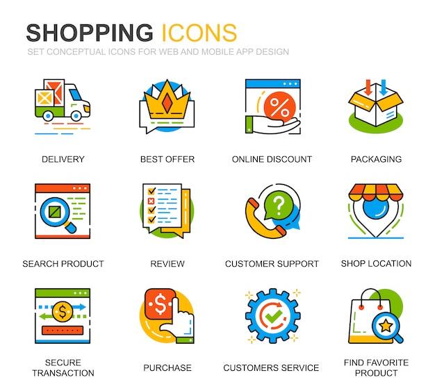 Conjunto de iconos de línea de comercio electrónico y compras simples para sitio web Vector Premium