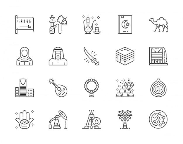 Conjunto de iconos de línea de cultura árabe y arabia saudita. cachimba, té árabe, libro sagrado, camello, meca, rascacielos, fruta exótica, plataforma petrolera, palmera y más. Vector Premium