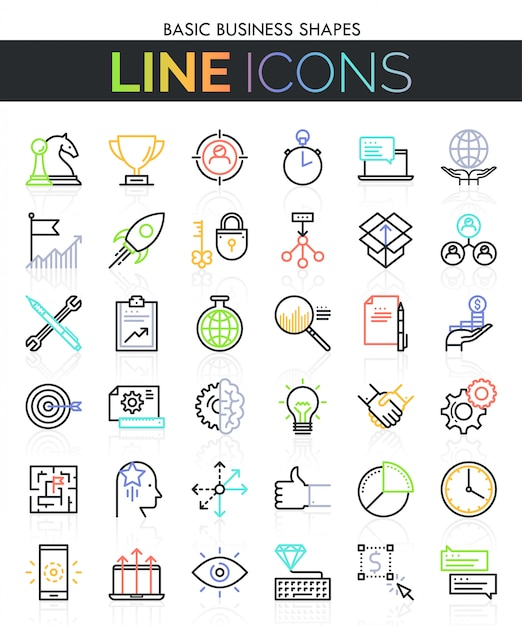 Conjunto de iconos de línea delgada de negocios Vector Premium