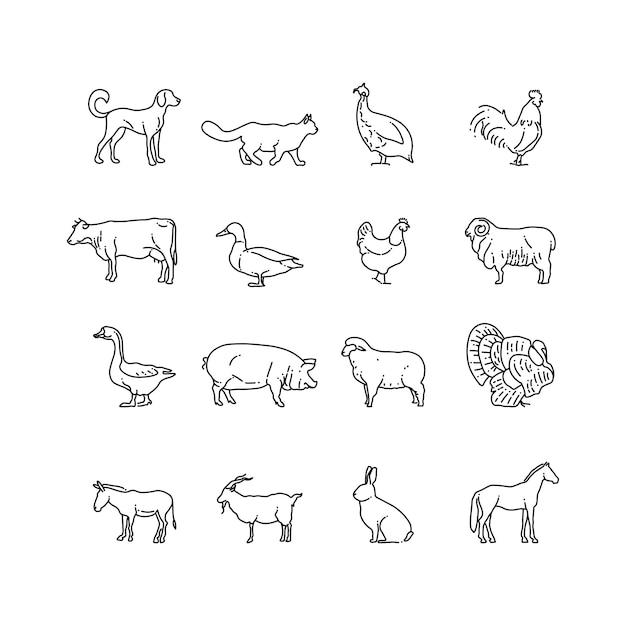Conjunto de iconos de línea fina de animales de granja. esquema de símbolos de vaca, cerdo, pollo, caballo, conejo, cabra, burro, oveja, gansos Vector Premium