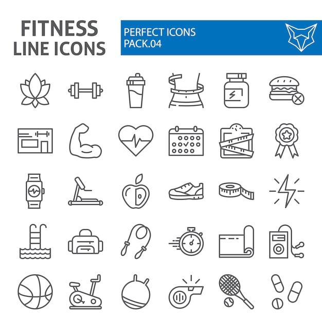 Conjunto de iconos de línea fitness, colección deportiva Vector Premium