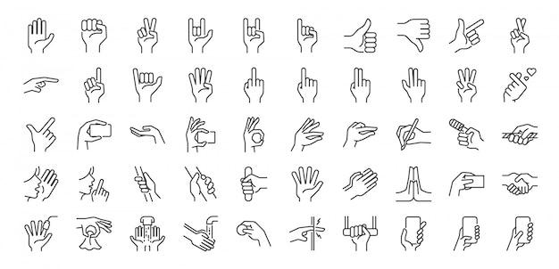 Conjunto de iconos de línea de gestos con las manos. Vector Premium