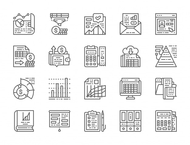 Conjunto de iconos de línea de informe contable Vector Premium