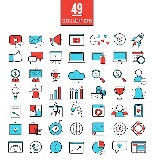Conjunto de iconos de línea de marketing de medios sociales Vector Premium