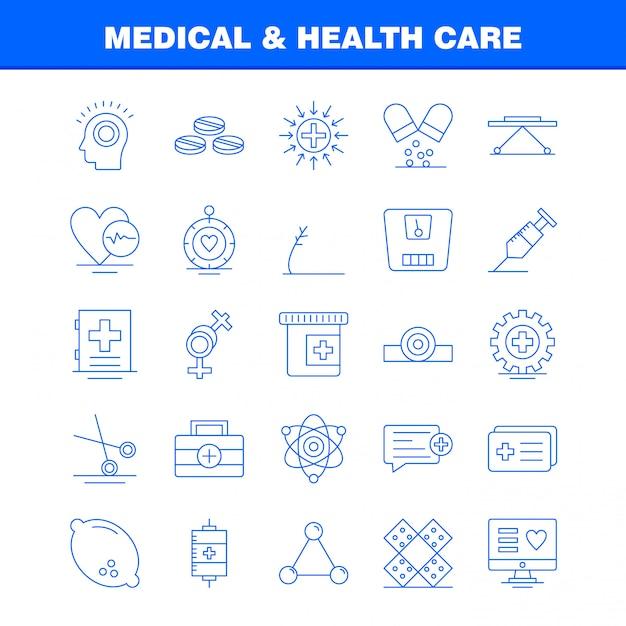 Conjunto de iconos de línea médica y sanitaria vector gratuito