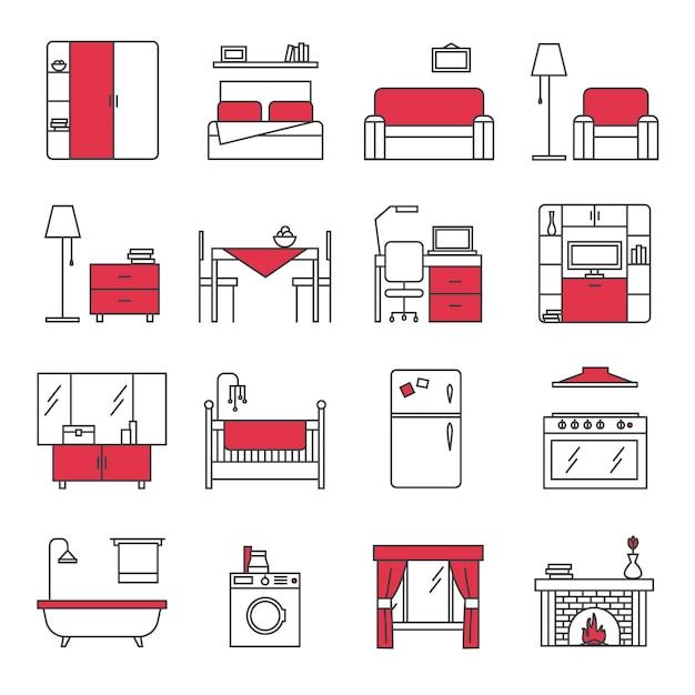 Conjunto de iconos de línea de muebles vector gratuito
