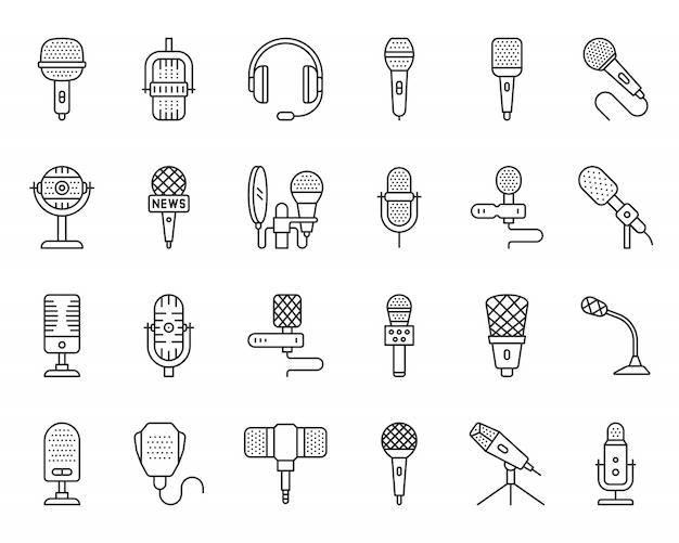 Conjunto de iconos de línea negra de micrófono, periodista, música, voz, cantante, difusión simple señal de micrófono. Vector Premium