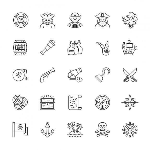 Conjunto de iconos de línea piratas. Vector Premium
