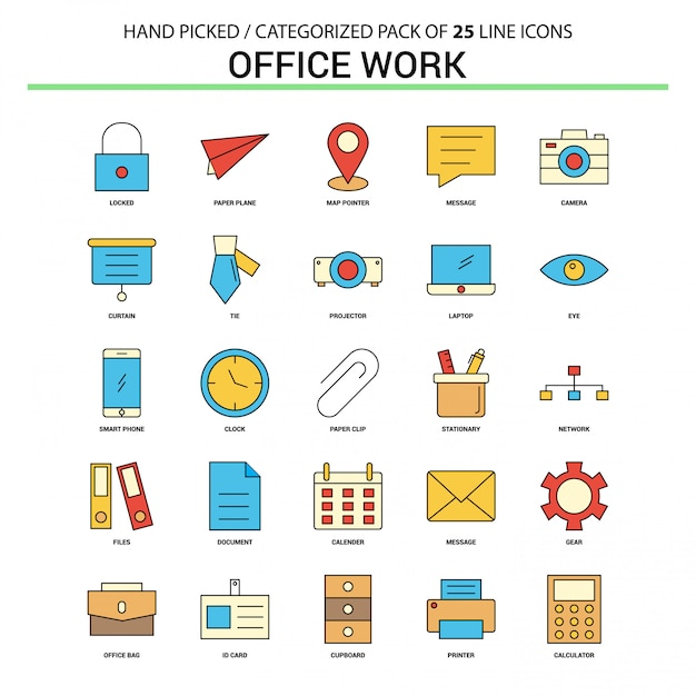 Conjunto de iconos de línea plana de trabajo de oficina vector gratuito