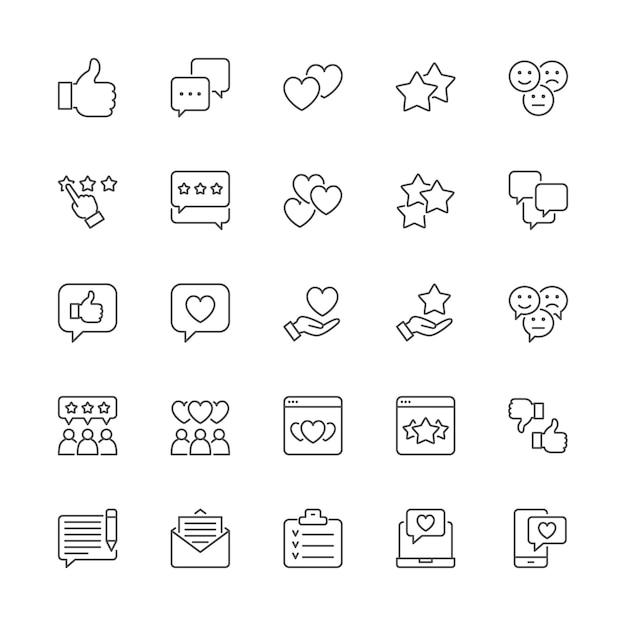 Conjunto de iconos de línea de retroalimentación. pulgar arriba, me gusta, no me gusta, corazones, chat, sms y más. Vector Premium