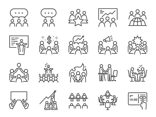 Conjunto de iconos de línea de reunión. Vector Premium