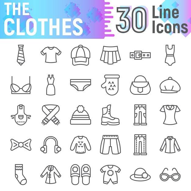 Conjunto de iconos de línea de ropa, colección de símbolos de tela Vector Premium
