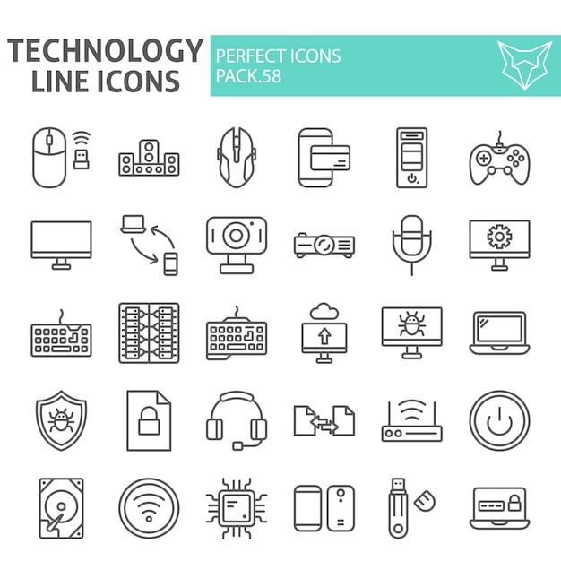Conjunto de iconos de línea de tecnología, colección de dispositivos Vector Premium