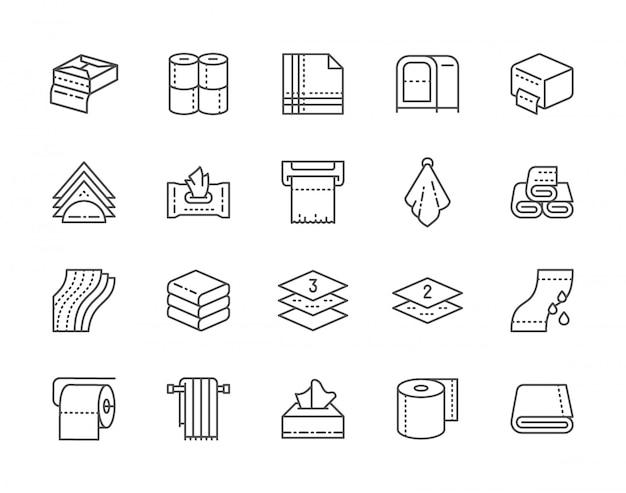 Conjunto de iconos de línea de toallas y servilletas. rollos de papel higiénico, soporte, secador de manos y más. Vector Premium