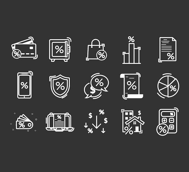 Conjunto de iconos de líneas relacionadas con préstamos. Vector Premium