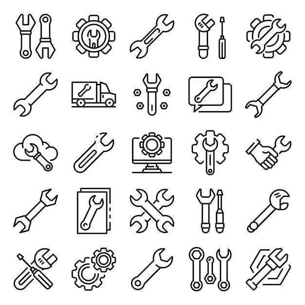 Conjunto de iconos de llave inglesa, estilo de contorno Vector Premium