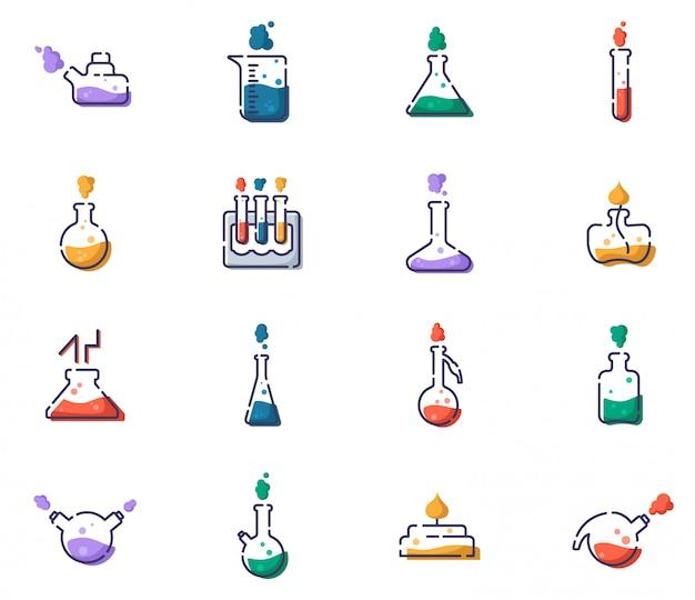 Conjunto de iconos llenos de contorno: matraces de laboratorio, vaso medidor y tubos de ensayo para diagnóstico, análisis, experimento científico. laboratorio químico y equipamiento. Vector Premium