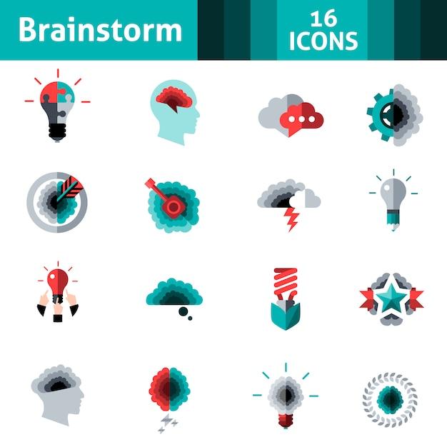 Conjunto de iconos de lluvia de ideas vector gratuito