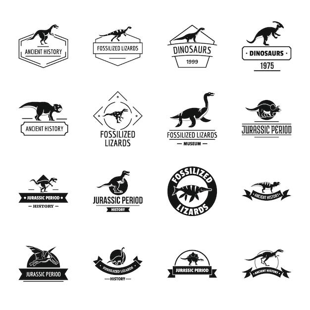 Conjunto de iconos de logo de dinosaurio Vector Premium