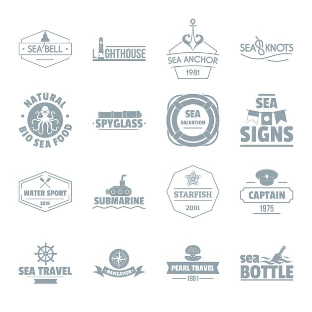 Conjunto de iconos de logo de mar náutico Vector Premium