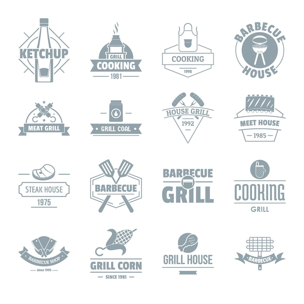 Conjunto de iconos de logotipo de parrilla de barbacoa Vector Premium