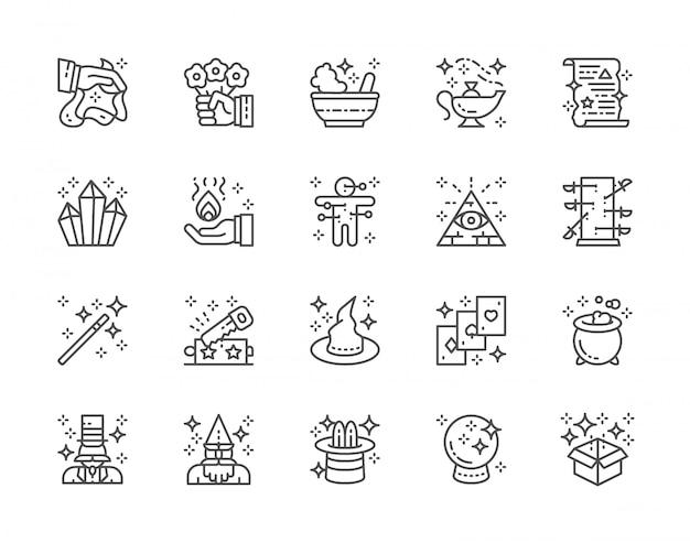 Conjunto de iconos de magic show line. sombrero de bruja, ilusionista, mago, circo y más. Vector Premium