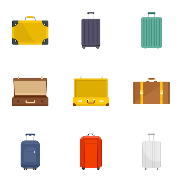 Conjunto de iconos de maleta. conjunto plano de iconos de vector de maleta 9 Vector Premium