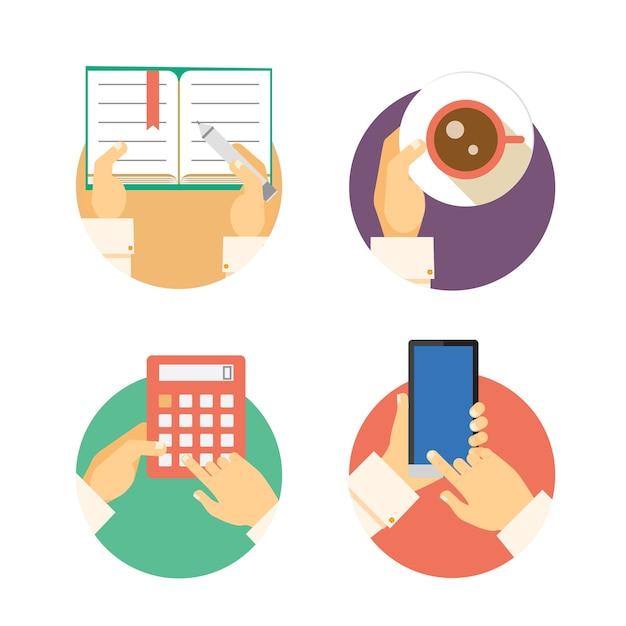 Conjunto de iconos de manos de negocios que muestran acciones que incluyen escribir en un diario llevar la contabilidad del café en una calculadora y enviar mensajes de texto o navegar en un teléfono inteligente o ilustraciones vectoriales móviles vector gratuito