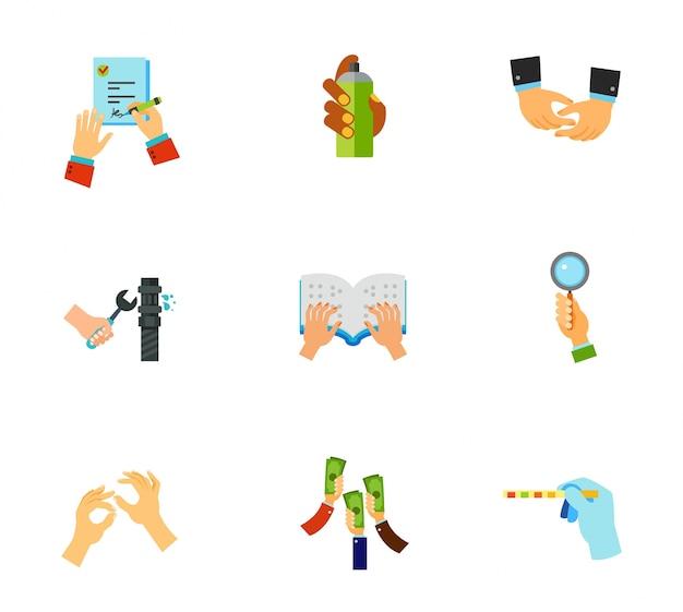 Conjunto de iconos de manos vector gratuito