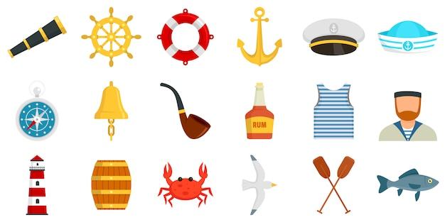Conjunto de iconos de marinero Vector Premium