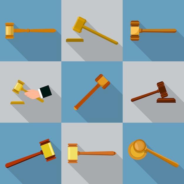 Conjunto de iconos de martillo de juez. ilustración plana de 9 iconos de martillo de juez para web Vector Premium